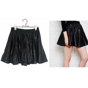 Silence + Noise Faux Leather Perforated Skirt